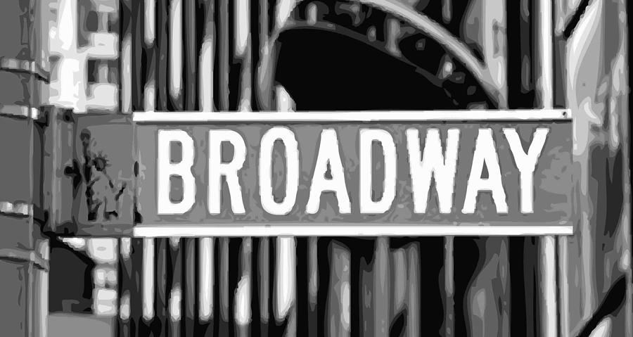 New York Broadway Sign Photograph - Broadway Sign Color Bw10 by Scott Kelley