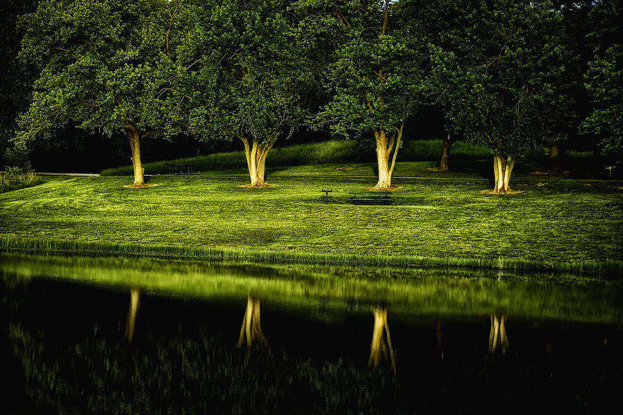 Landscape Photograph - Broemmelsiek Park Green by Bill Tiepelman
