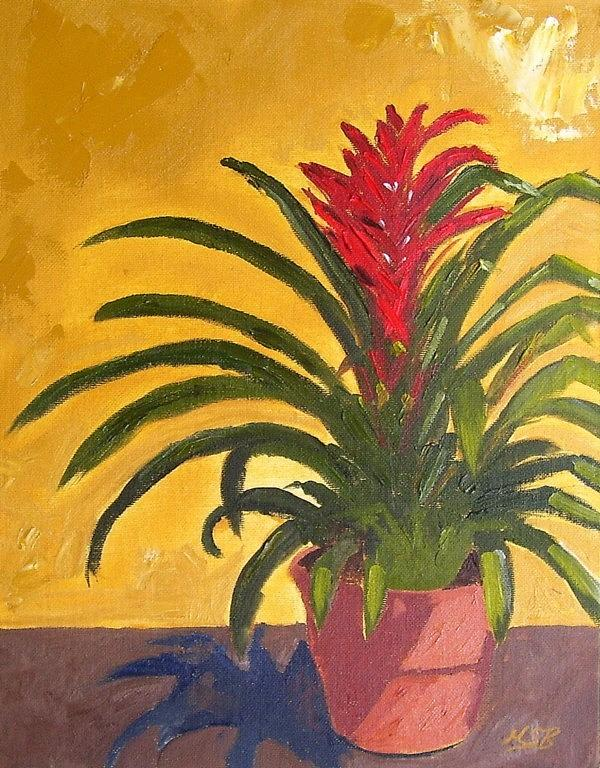 Bromeliad Painting - Bromeliad  by Maria Soto Robbins