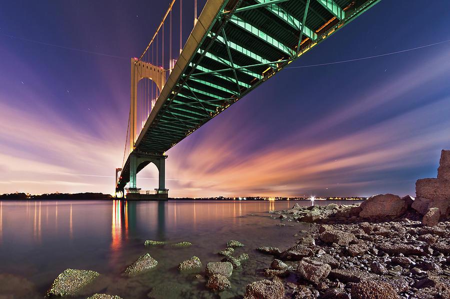 Horizontal Photograph - Bronx Whitestone Bridge At Dusk by Mihai Andritoiu, 2010