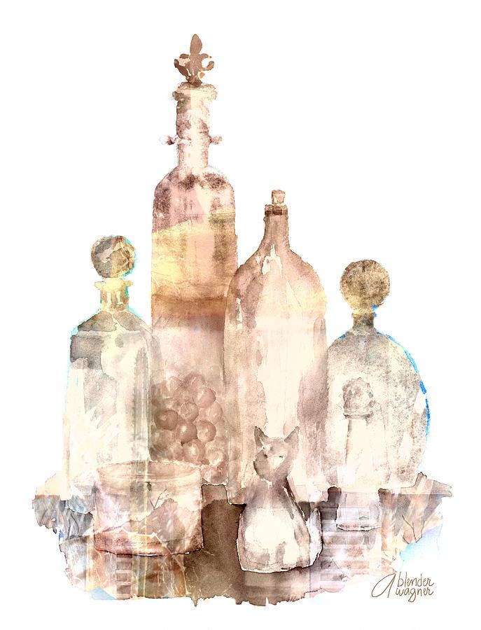 Bottle Painting - Bronzed Bottles by Arline Wagner