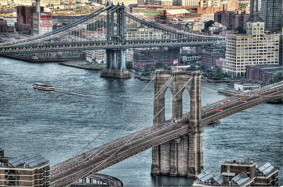 Horizontal Photograph - Brooklyn And Manhattan Bridge by Tony Shi Photography
