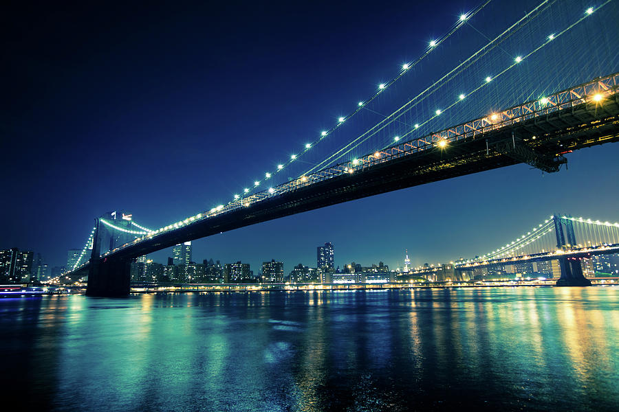 Brooklyn Bridge And Lower Manhattan At Night Photograph By