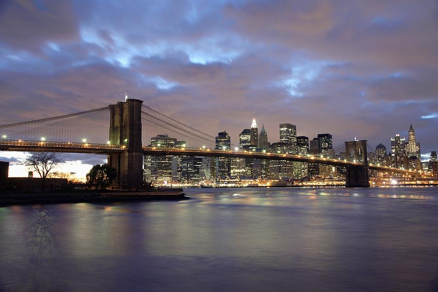 No People Photograph - Brooklyn Bridge And Lower Manhattan by Axiom Photographic