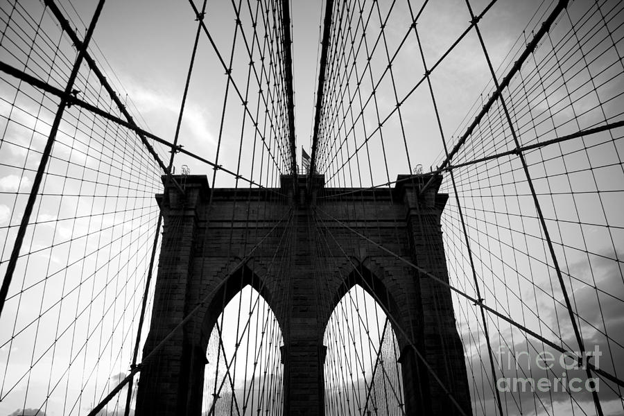 Brooklyn Bridge Black And White Photograph by Cassandra Lemon