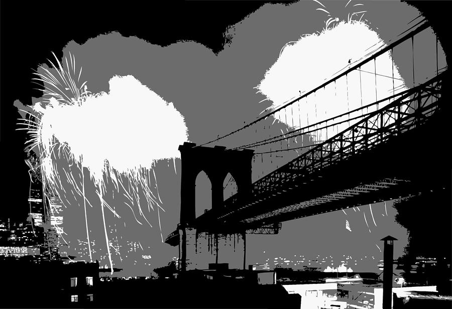 New York Photograph - Brooklyn Bridge Fireworks Bw3 by Scott Kelley