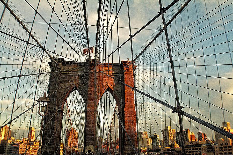Landscape Photograph - Brooklyn Bridge On A Sunset by Alex AG