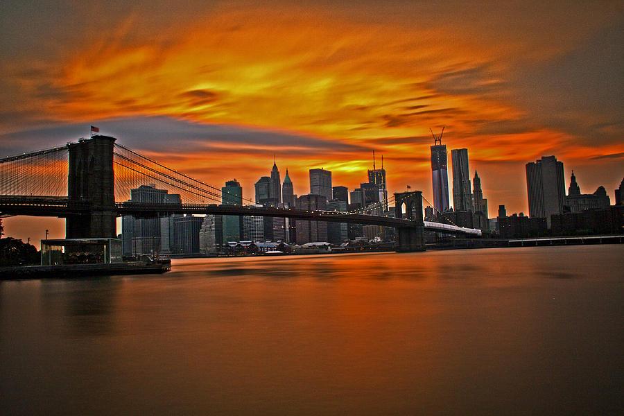 Brooklyn Bridge Photograph - Brooklyns Twilight V2 by Michael Murphy