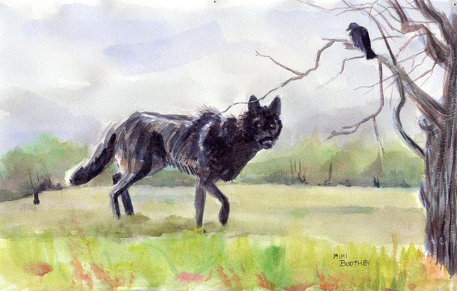 Nature Painting - Brother Crow Announces The Arrival Of Brother Wolf by Mimi Boothby