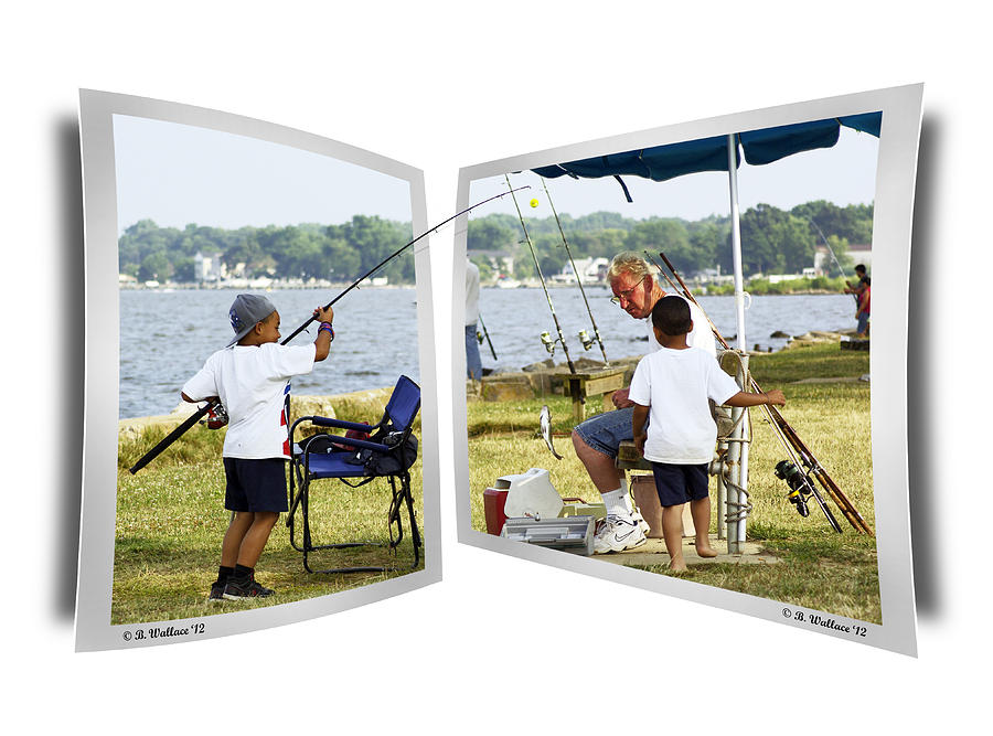 2d Photograph - Brothers Fishing - Oof by Brian Wallace