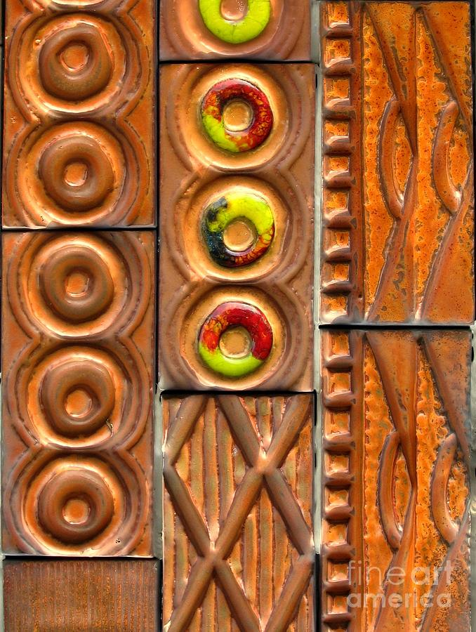 Ceramic Photograph - Brown Ceramic Tiles by Yali Shi