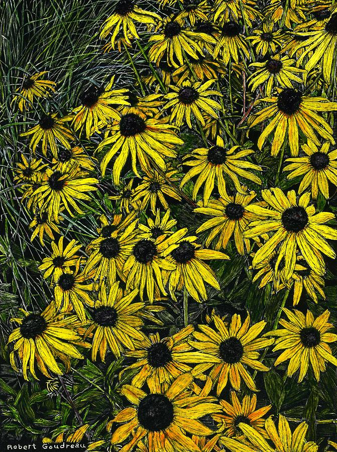 Flowers Painting - Brown Eyed Susans by Robert Goudreau