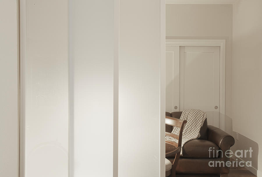 Architectural Detail Photograph - Brown Leather Sofa Seen Through Open Door by Andersen Ross