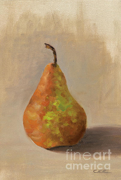 Pear Painting - Brown Pear by Christa Eppinghaus