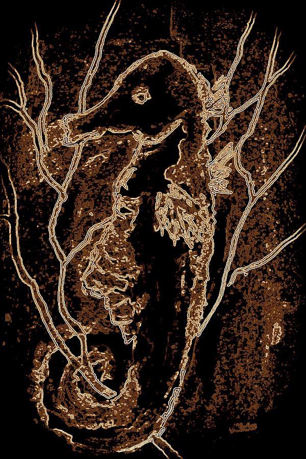 Seahorse Digital Art - Brown Seahorse by Susan Kubes