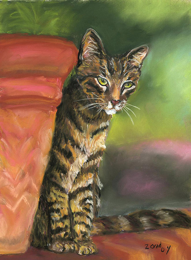 Brown Tabby Painting by Mary Jo Zorad
