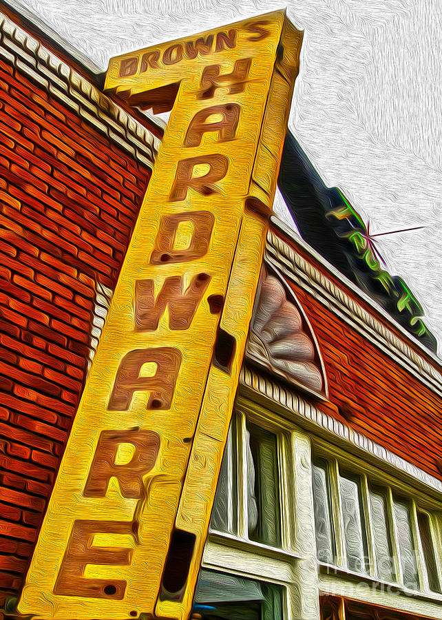 Vintage Sign Painting - Browns Harware by Gregory Dyer