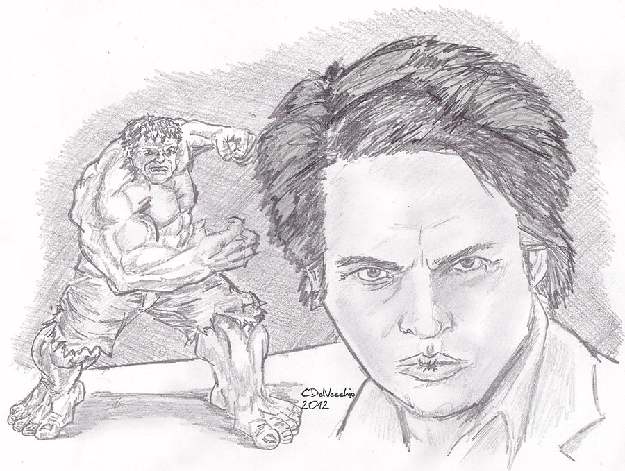 Drawing - Bruce Banner- The Hulk by Chris  DelVecchio