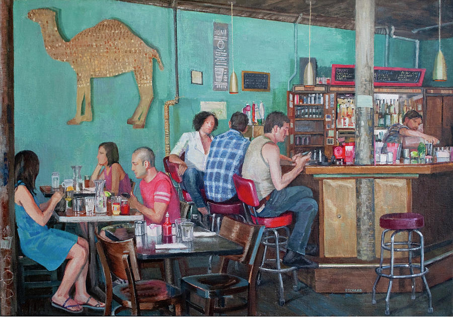 Cafe Painting - Brunch At Enids by Elinore Schnurr