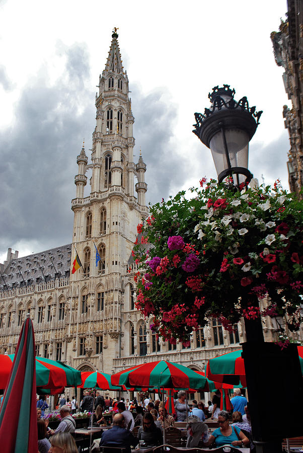 Brussels Photograph - Brussels Town Hall And Cafe In The Grand Place Market Square Belgium by Jeff Rose
