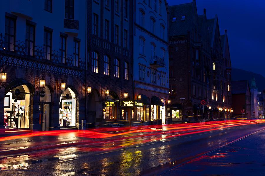 Dark Photograph - Bryggen Lights by A A