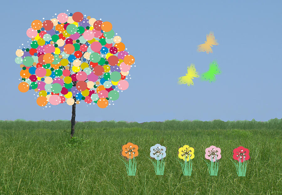 Tree Mixed Media - Bubblegum Tree by Rosalie Scanlon