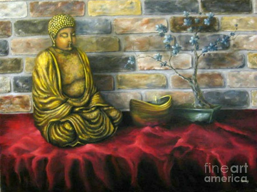 Buddha Painting - Buddha and Candle by Patricia Lang