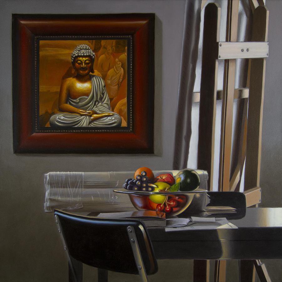 Realism Painting - Buddha And Fruit With  Easel by Tony Chimento