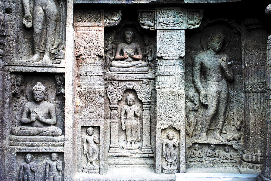 Buddha carvings at ajanta caves photograph by sumit