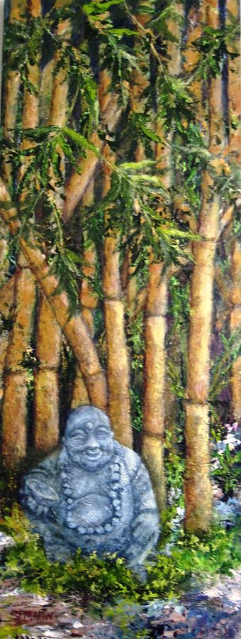 Buddha Painting - Buddha In The Bamboo Garden by Annie St Martin