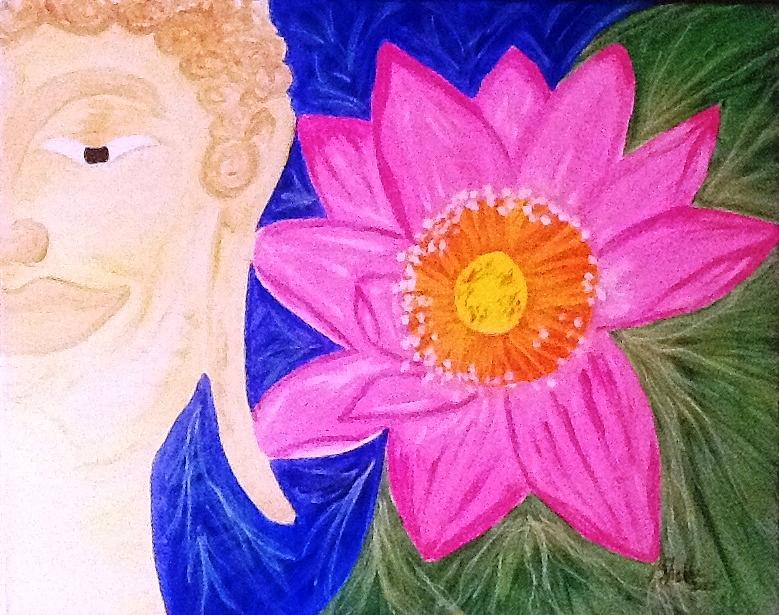 Buddha Painting - Buddha Lotus Peace by Michele Moore