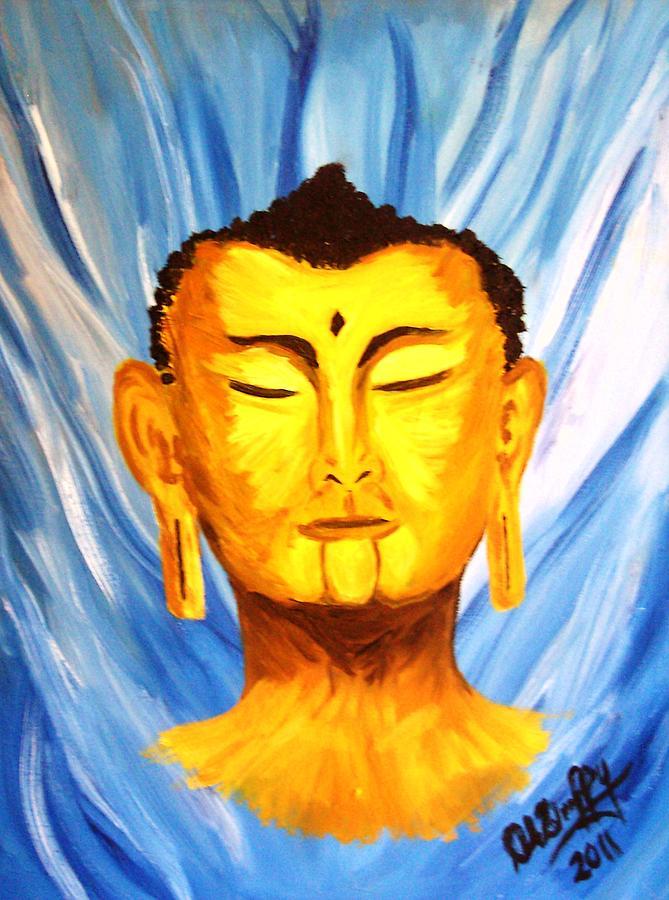 Budda Painting - Buddha On Blue by Deborah Duffy