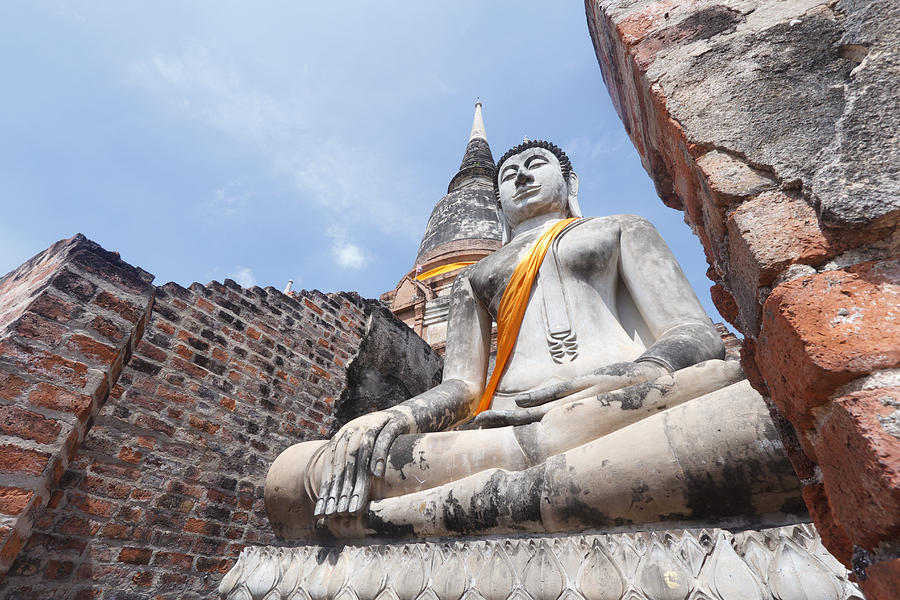 Ancient Sculpture - buddha statue in Thailand  by Thanawat  Wongsuwannathorn