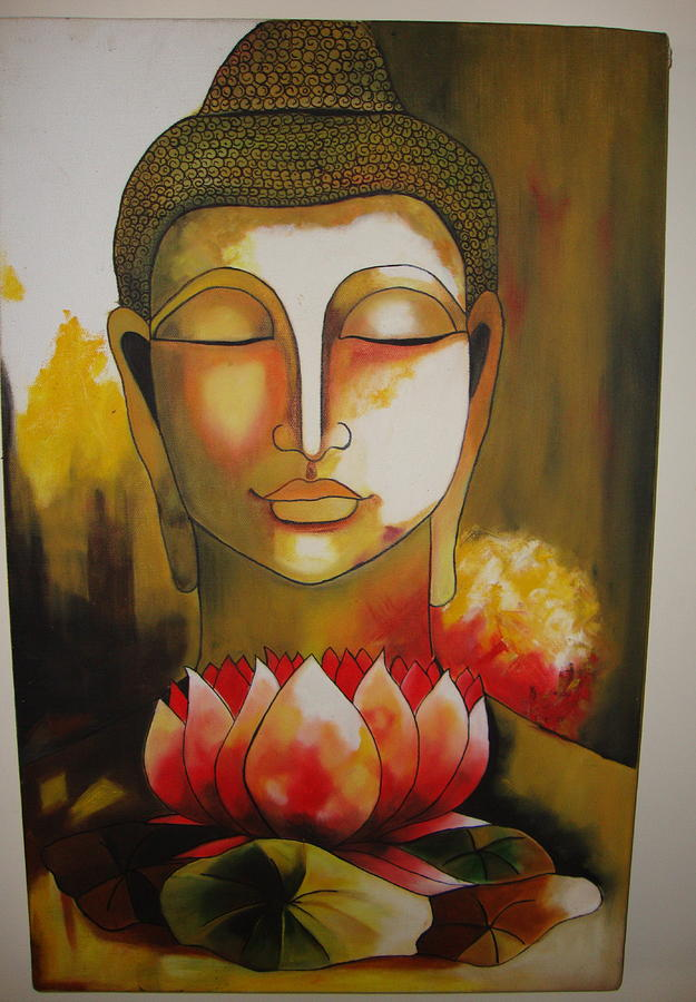Buddha with lotus flower painting by pooja hirawat buddha painting buddha with lotus flower by pooja hirawat mightylinksfo Image collections