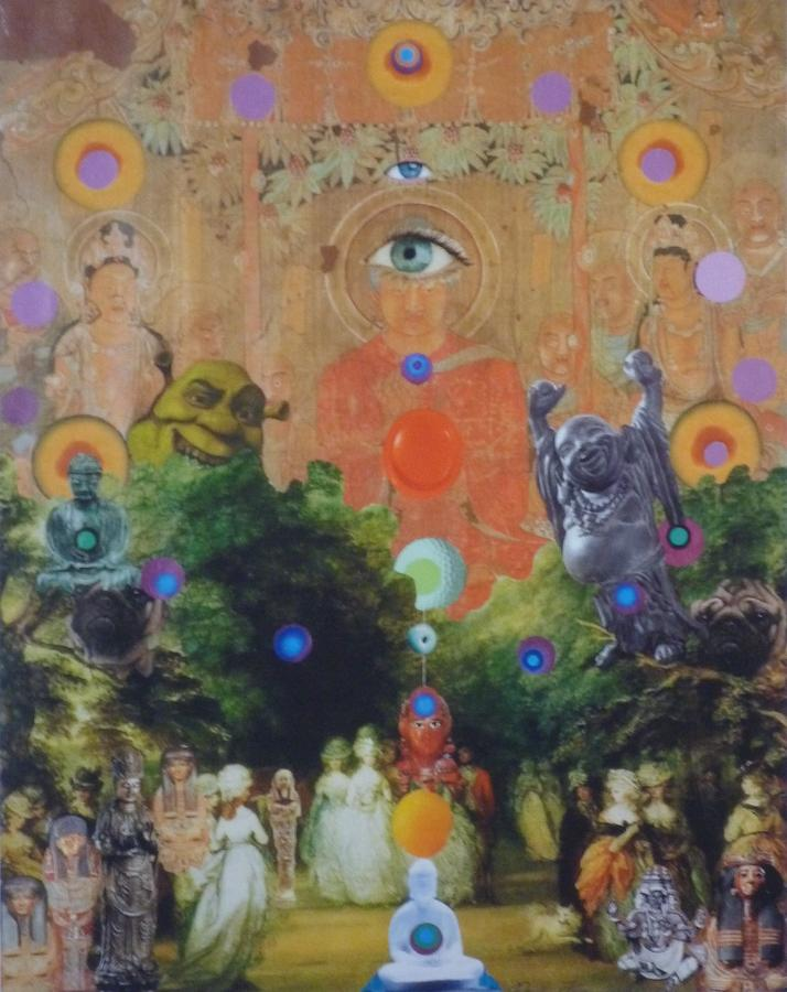 Buddha Mixed Media - Buddhas Garden Party by Douglas Fromm