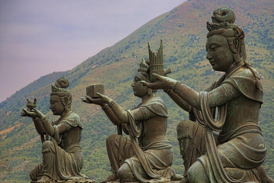 Buddha Photograph - Buddhistic Statues by Karen Walzer