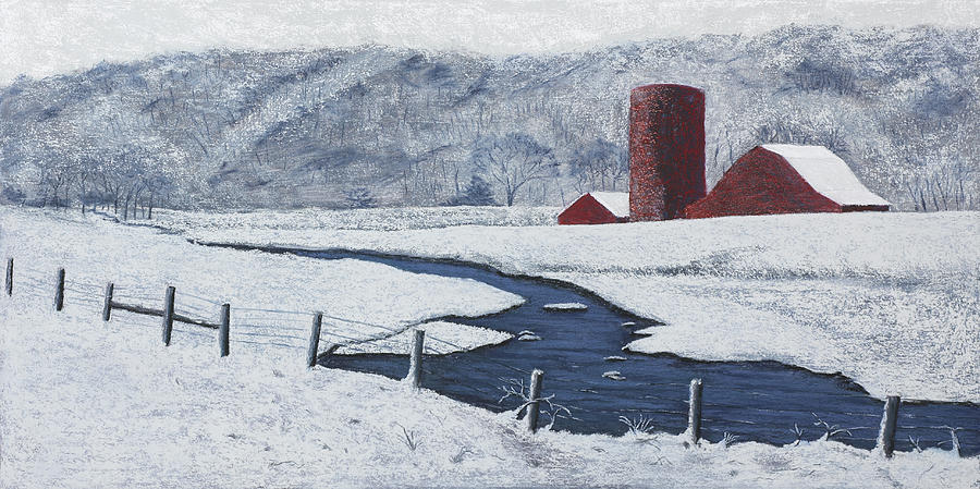 Arkansas Painting - Buffalo River Valley In Snow by Garry McMichael