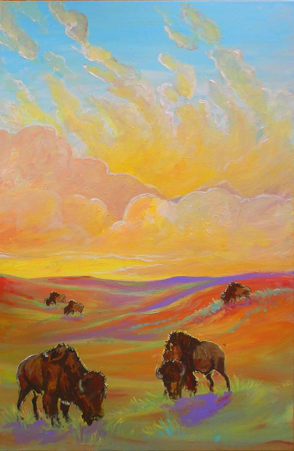 Buffalo Painting - Buffalo Sunrise by Jenn Cunningham