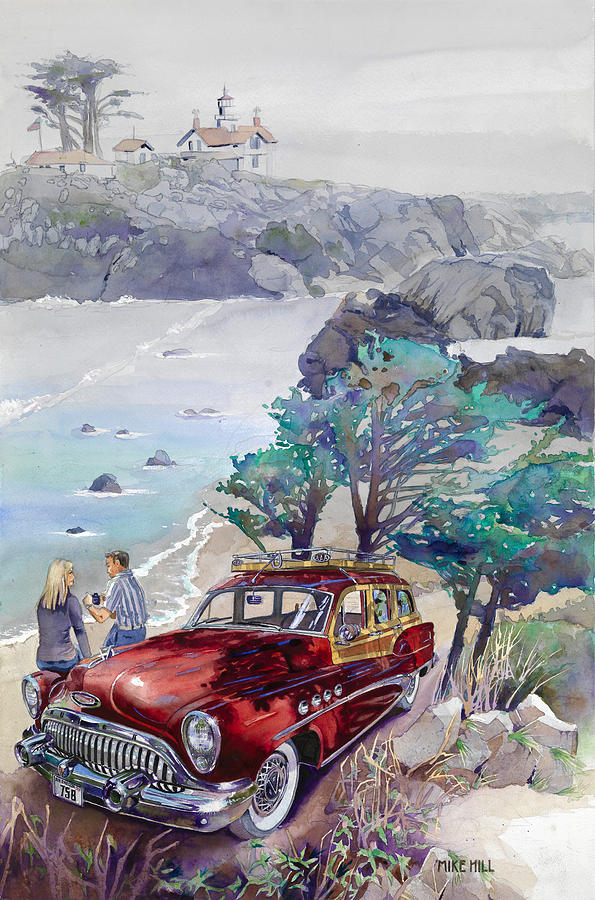 Buick At Battery Point Painting by Mike Hill