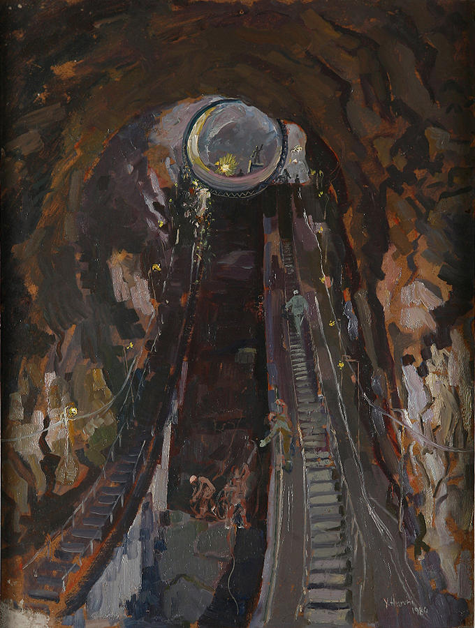 Construction Painting - Building Hydropower Tunel by Ylli Haruni