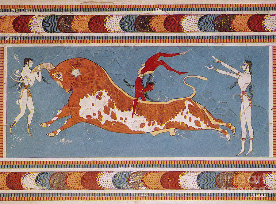 Fresco Photograph - Bull-leaping Fresco From Minoan Culture by Photo Researchers
