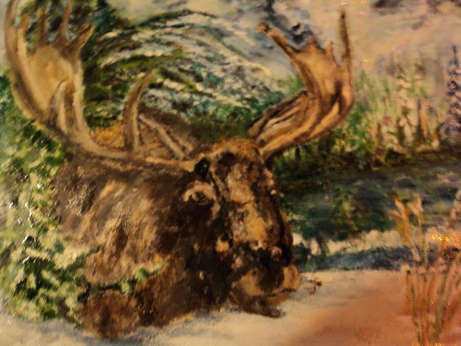 Moose Painting - Bull Moose by Lynn Welker