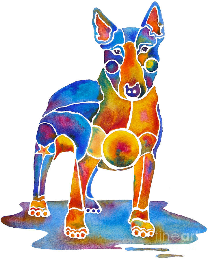 Bull Terrier Dog Art Painting By Jo Lynch - Bull terrier art