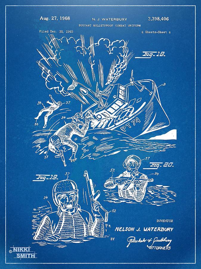 Bulletproof Digital Art - Bulletproof Patent Artwork 1968 Figures 18 To 20 by Nikki Marie Smith