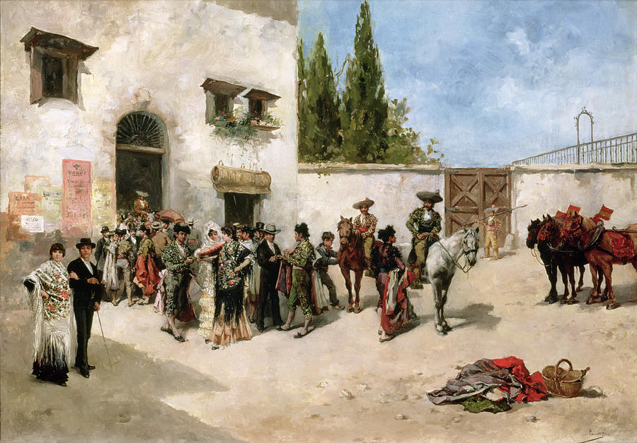 Vicente Painting - Bullfighters Preparing For The Fight  by Vicente de Parades