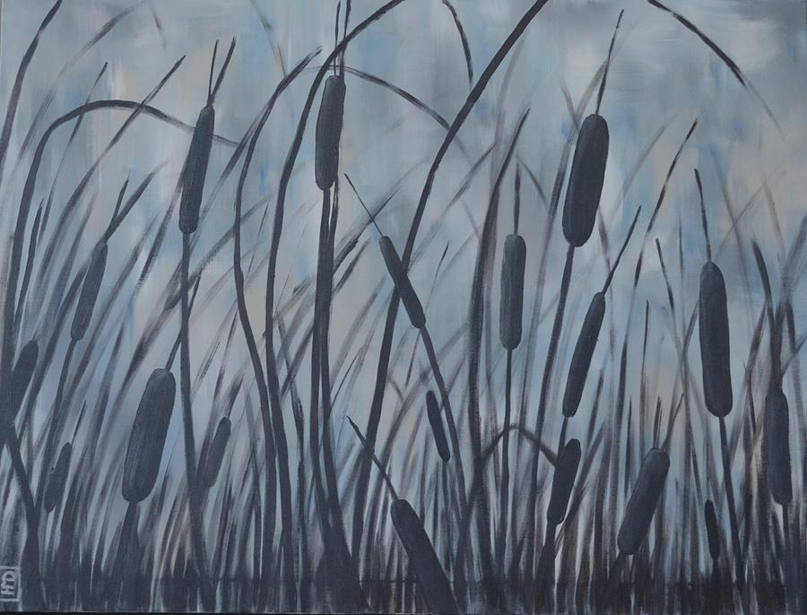 Bullrush Painting - Bullrush Blues by Holly Donohoe