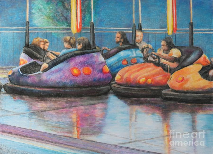 Bumper Cars Painting - Bumper Car Traffic Jam by Charlotte Yealey