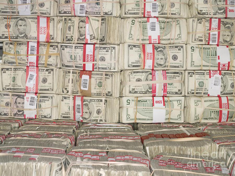 5 Photograph - Bundles Of Five Dollar Bills by Adam Crowley