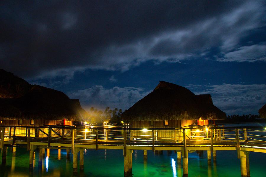 Bora Photograph - Bungalows at Night by Benjamin Clark