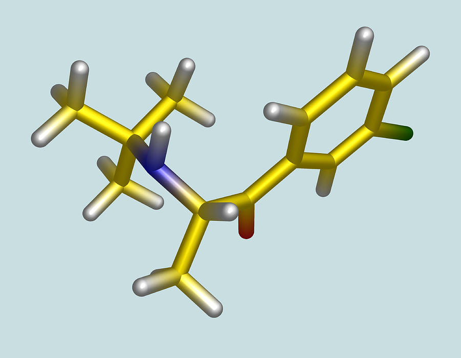 Chemical Photograph - Bupropion Drug Molecule by Dr Tim Evans